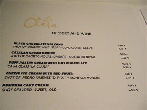 Dessert menu: fotografía de La Clara Restaurant, Barcelona ...
