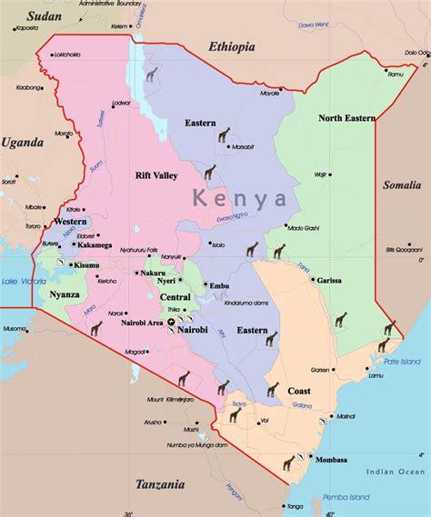 Detailed administrative map of Kenya. Kenya detailed ...