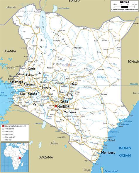 Detailed Clear Large Road Map of Kenya   Ezilon Maps