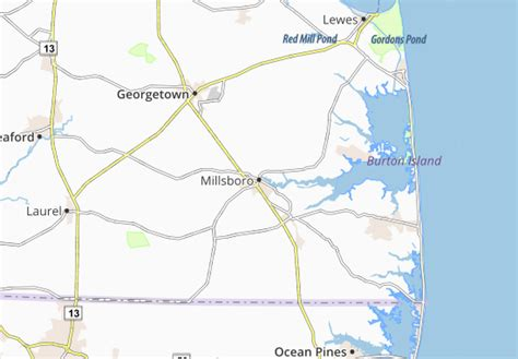 Detailed map of Millsboro   Millsboro map   ViaMichelin