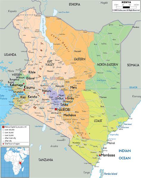 Detailed Political Map of Kenya   Ezilon Maps