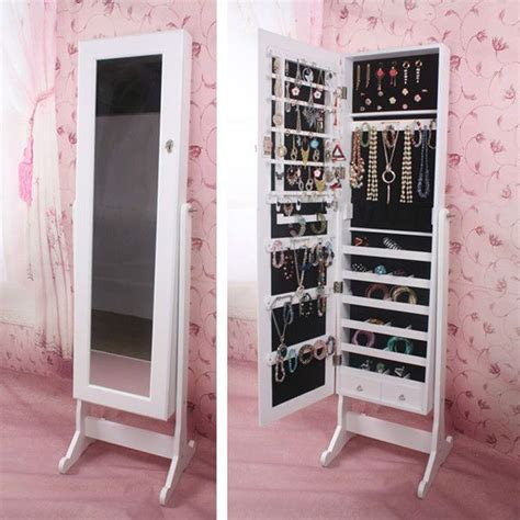 Details about Large Wood Jewelry Cabinet Armoire Box ...