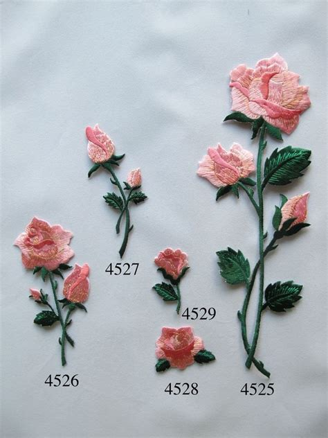 Details about Pink Rose Flower w/Green Leaves Embroidery ...