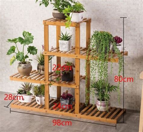 Details about Premium Bamboo Wooden Plant Stand Indoor ...