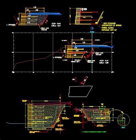 Detalle de muros de contencion en AutoCAD | CAD  1.27 MB ...