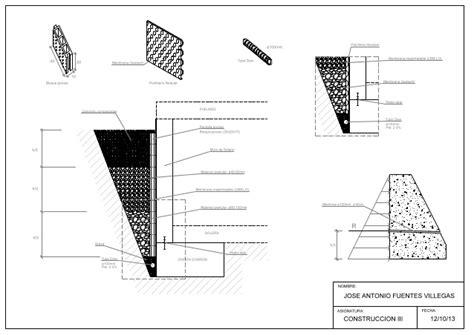 Detalle en A3, Muro de Sótano con sistema de drenaje