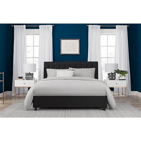DHP Emily Black Upholstered Faux Leather Full Size Bed ...