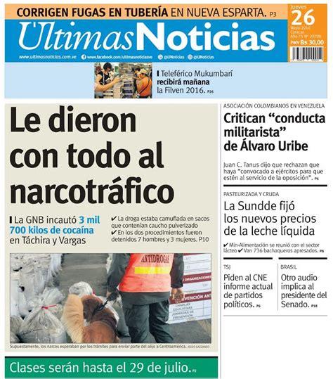 Diario: #Titulares Diario Últimas Noticias: Le dieron con ...
