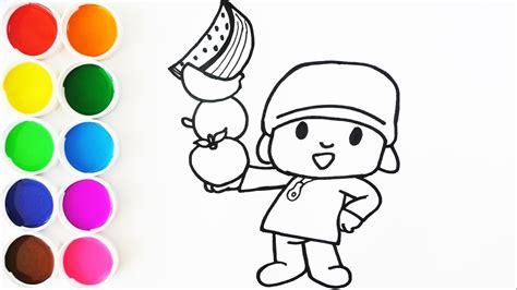 Dibuja y Colorea a Pocoyo con Frutas   Dibujos Para Niños ...