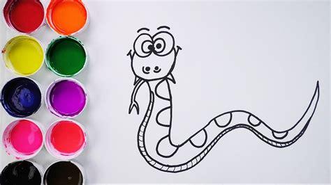 Dibuja y Colorea Una Serpiente de Arco Iris   Aprende Los ...
