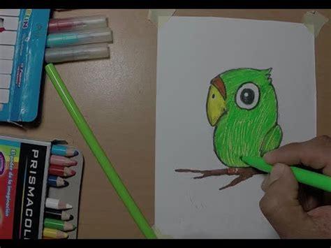 Dibujando un periquito verde fácil y rápido para niños ...
