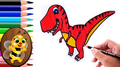 dibujando y pintando un dinosaurio animado   Dibujos para ...