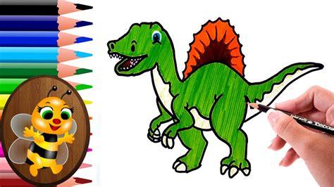 dibujando y pintando un dinosaurio facil   Dibujos para ...
