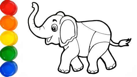 Dibujar y Colorear Elefante de Arco Iris   Pintando ...