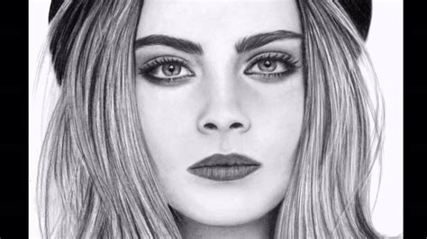 Dibujo a lápiz / Pencil Drawing Cara Delevingne   YouTube