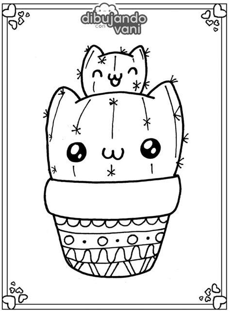 Dibujo de cactus gato kawaii para imprimir