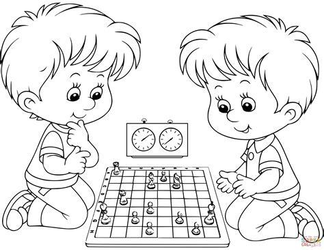 Dibujo de Dos niños jugando al ajedrez para colorear ...