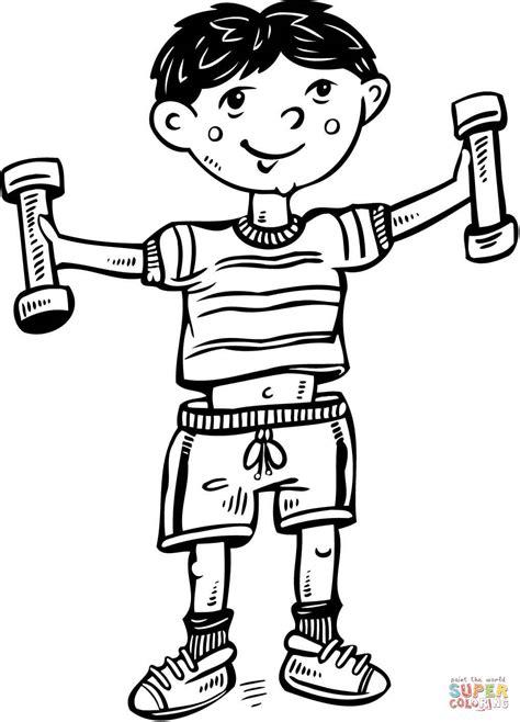 Dibujo de Niño Haciendo Ejercicio para colorear | Dibujos ...