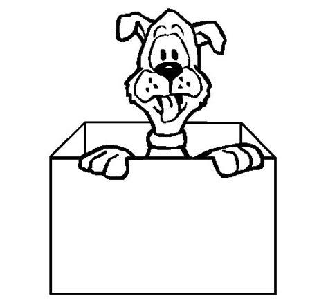 Dibujo de Perro dentro de caja para Colorear   Dibujos.net