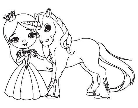 Dibujo de Princesa y unicornio para Colorear   Dibujos.net