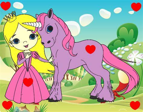 Dibujo de Princesa y unicornio pintado por Uyft en Dibujos ...