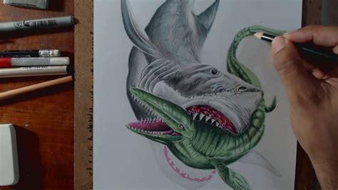 dibujo del megalodon  megalodon drawing    YouTube