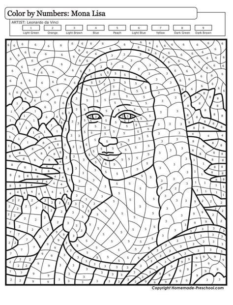 Dibujo Monalisa para colorear con números en 2020 ...