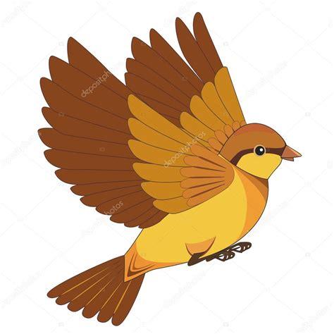 Dibujos animados de aves voladoras aisladas sobre un fondo ...