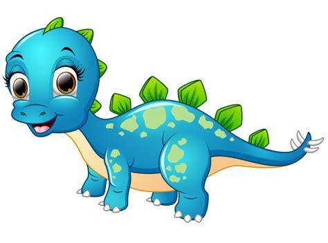 Dibujos animados de dinosaurio azul feliz   Vector Premium