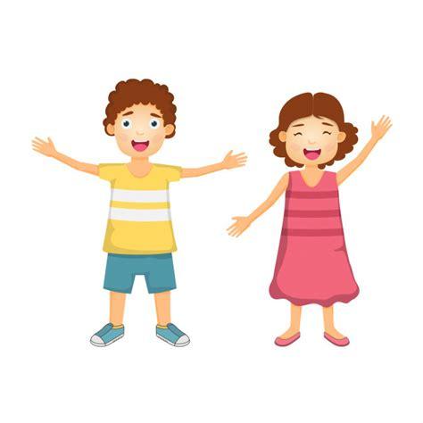 Dibujos animados de niño y niña felices para viajar ...