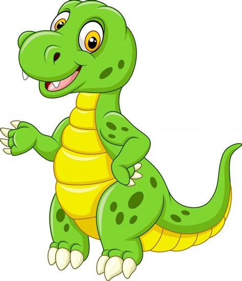 Dibujos animados divertido dinosaurio verde   Vector Premium