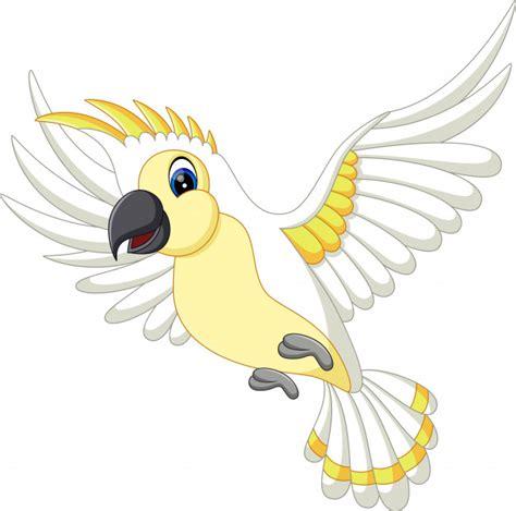 Dibujos animados divertido loro blanco volando | Vector ...