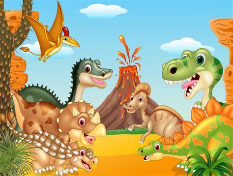 Dibujos animados feliz dinosaurios con volcán   Descargar ...