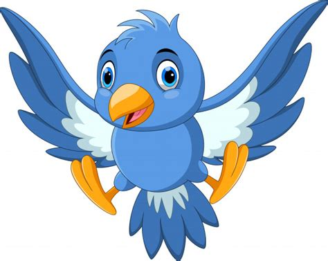 Dibujos animados lindo pájaro volando | Vector Premium