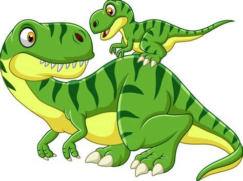 Dibujos animados madre y bebé dinosaurio   Vector Premium