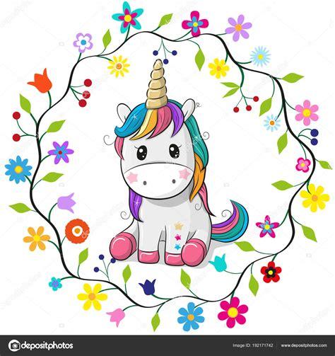 Dibujos animados unicornio en un marco de flores — Archivo ...