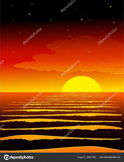 Dibujos: atardecer dibujo | Atardecer en el mar. Fondo ...