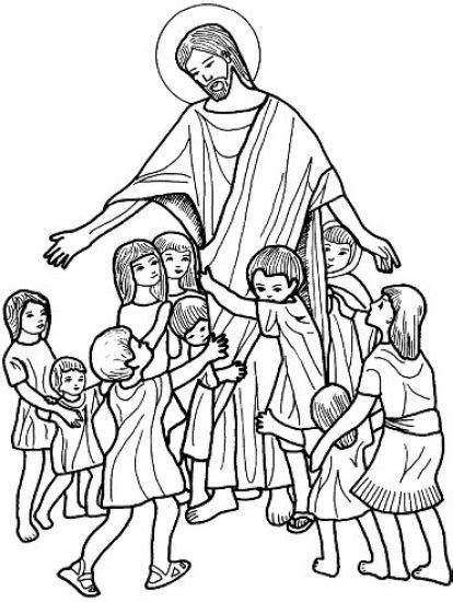 Dibujos Cristianos de Jesus con los niños para colorear ...