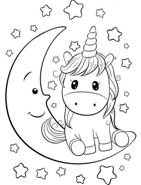 Dibujos de Unicornio En Luna para Colorear, Pintar e ...