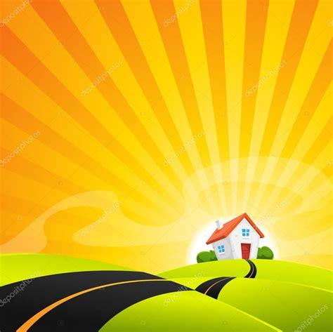 Dibujos: del amanecer | Pequeña casa en paisaje amanecer ...
