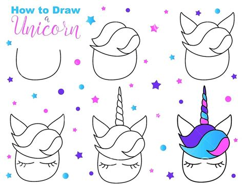 Dibujos Fáciles de Unicornios Paso a Paso y Kawaii