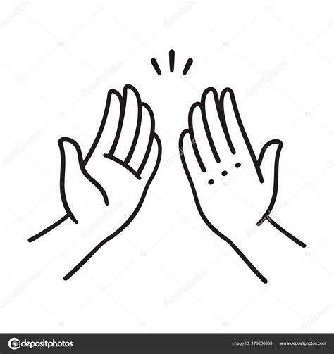Dibujos: manos dando palmas | cinco manos altas — Vector ...