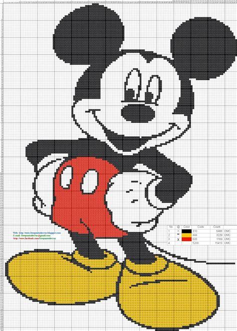 Dibujos Punto de Cruz Gratis: Mickey Mouse Cross Stitch ...