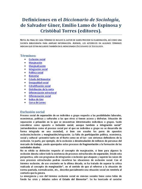 Diccionario de Sociología SALVADOR GINNER DEFINICIONES