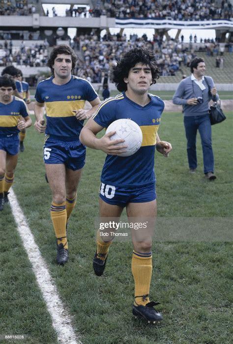 Diego Maradona of Boca Juniors before the Boca Juniors v ...