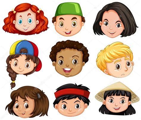 Diferentes rostros de niños y niñas — Vector de stock ...