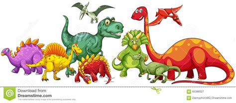Different Type Of Dinosaurs In Group Stock Vector ...