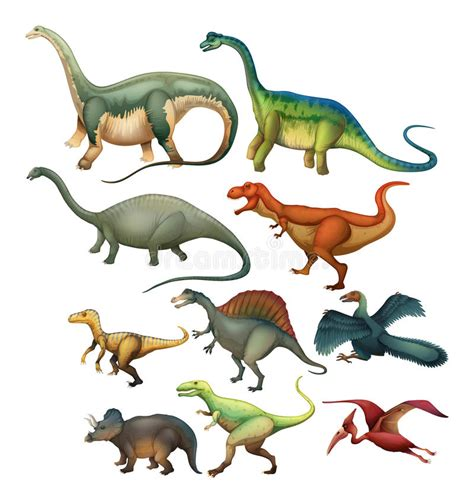 Different Type Of Dinosaurs Stock Vector   Illustration of ...