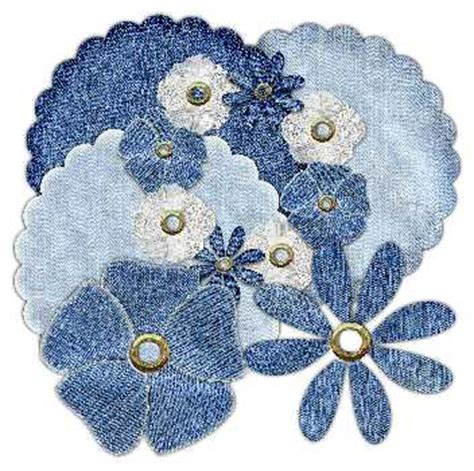digi scallop shapes and flowers in denim