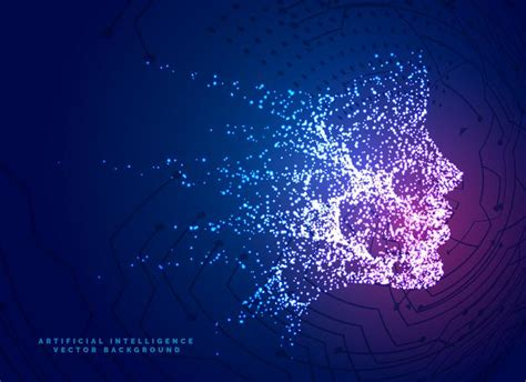 digital particle face technology concept background for ...